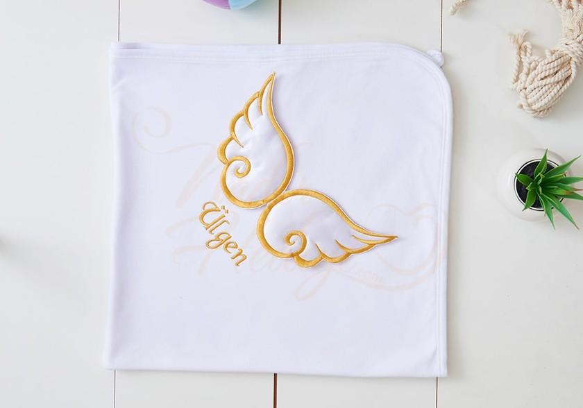 Bebek Battaniyesi - İsimli ve Melek Kanatlı