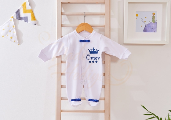 Bebek Tulum Takımı - İsimli ve Taçlı Tulum Seti - Thumbnail
