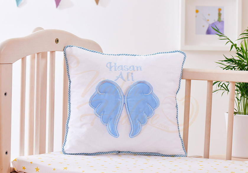 Bebek Yastığı - İsme Özel Melek Kanatlı Yastık