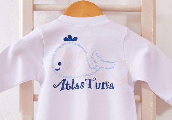 İsim Nakışlı Bebek Tulumu - Balina Desenli - Thumbnail