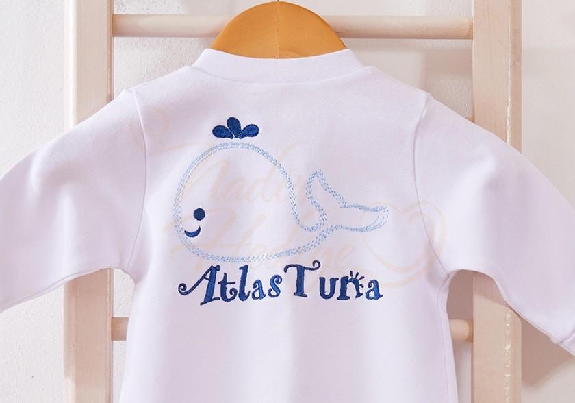 İsim Nakışlı Bebek Tulumu - Balina Desenli