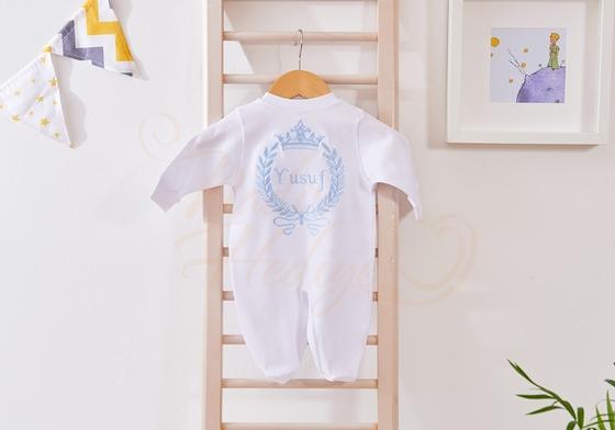 İsim Yazılı Bebek Tulumu - Erkek Bebek Hediyesi - Thumbnail