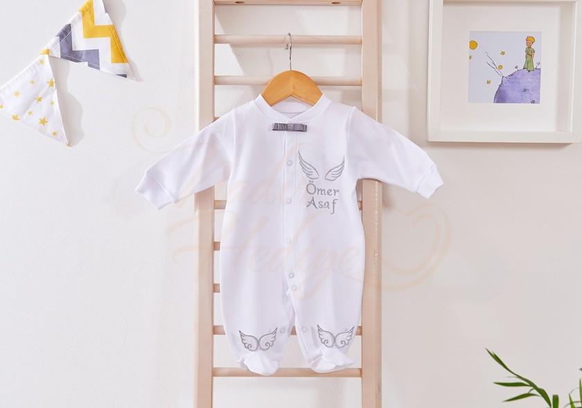İsimli Bebek Tulumu - Arkası Kanatlı ve İsimli