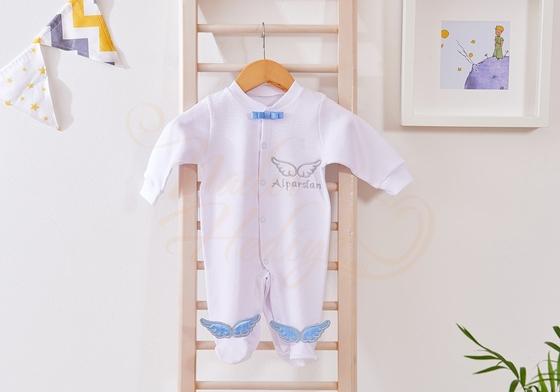 İsimli Melek Kanatlı Tulum - Yeni Bebek Hediyesi - Thumbnail
