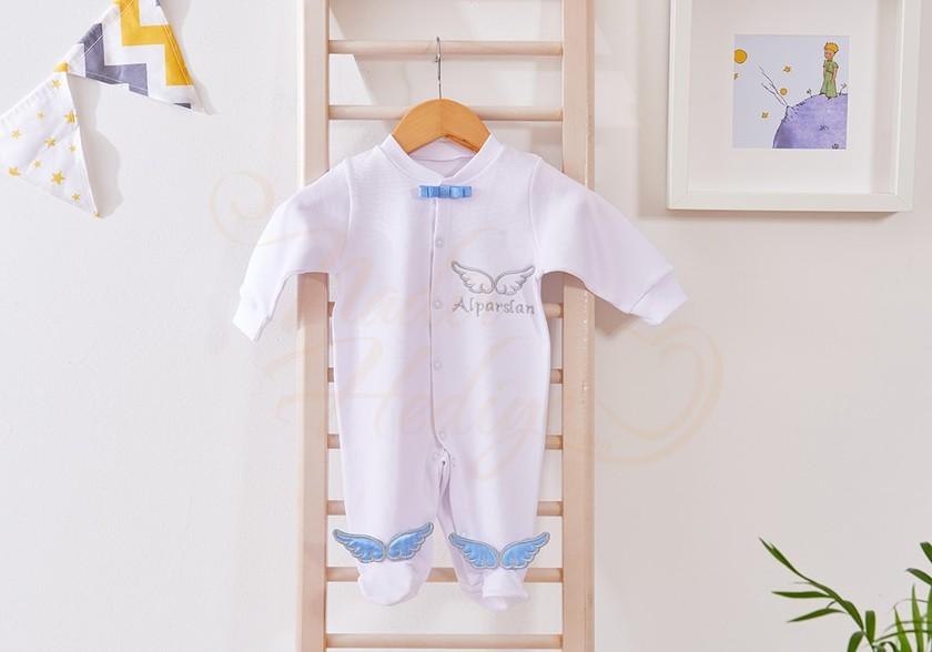 İsimli Melek Kanatlı Tulum - Yeni Bebek Hediyesi