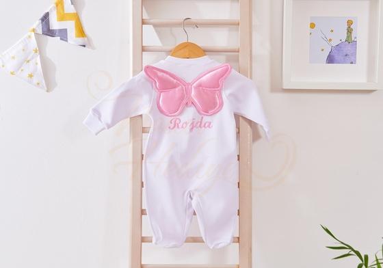 İşlemeli Bebek Tulumu - İsme Özel Kelebekli - Thumbnail