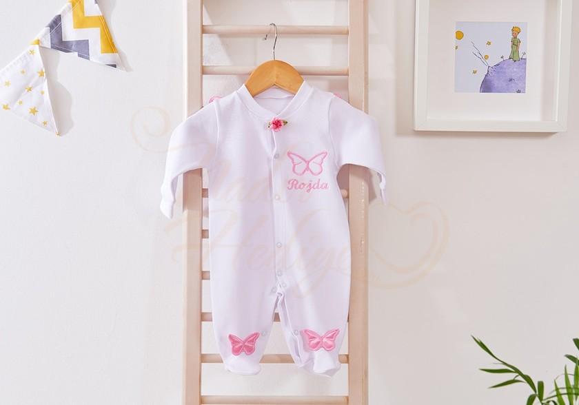 İşlemeli Bebek Tulumu - İsme Özel Kelebekli
