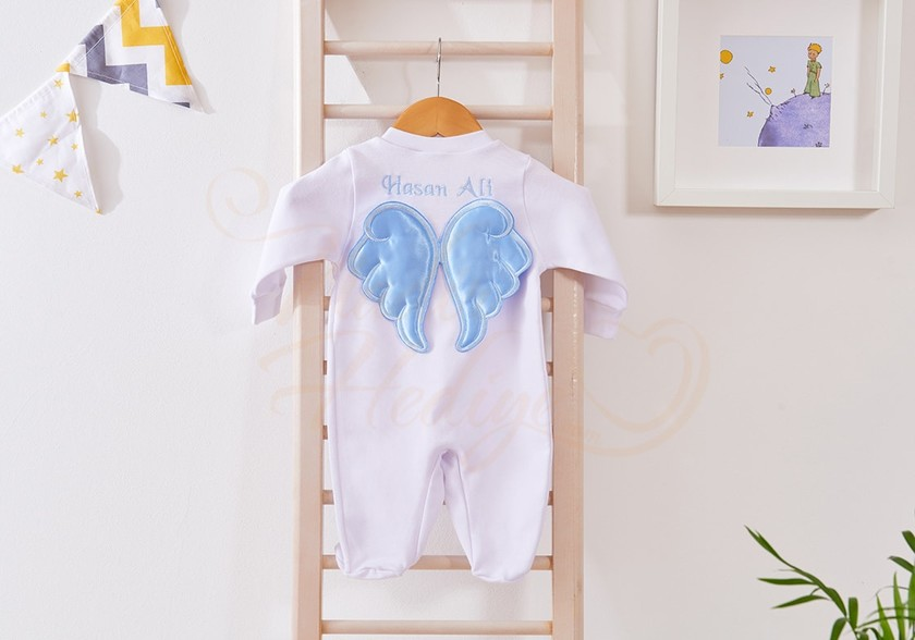 İsme Özel Bebek Tulumu - Arkası Melek Kanatlı