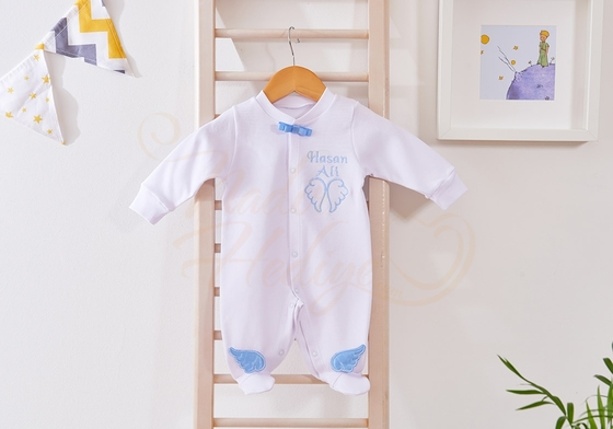 İsme Özel Bebek Tulumu - Arkası Melek Kanatlı - Thumbnail
