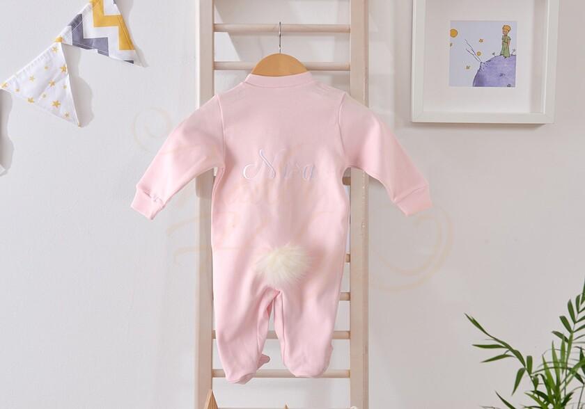 İsme Özel Tavşanlı Bebek Tulumu