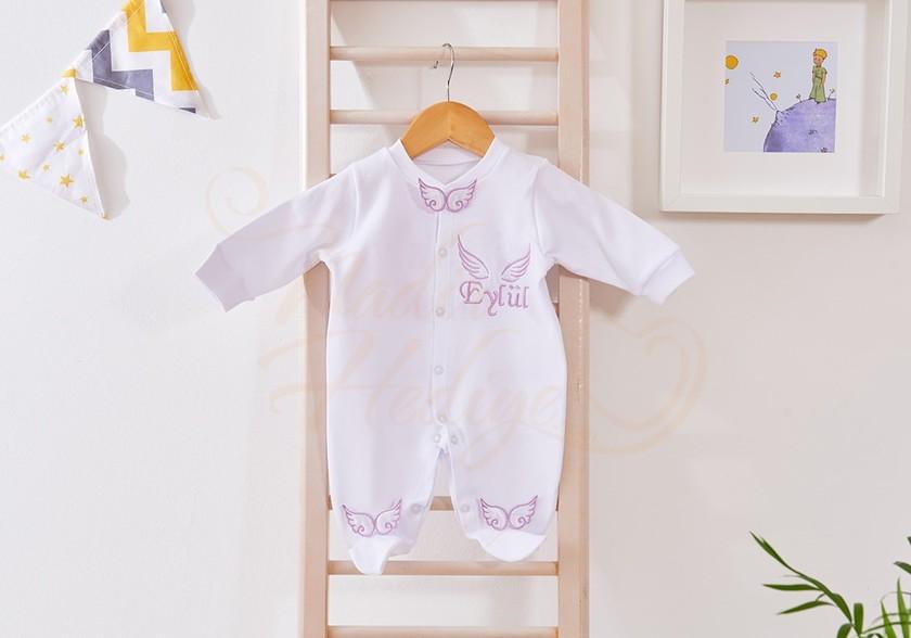 Melek Kanatlı Bebek Tulumu - İsim İşlemeli