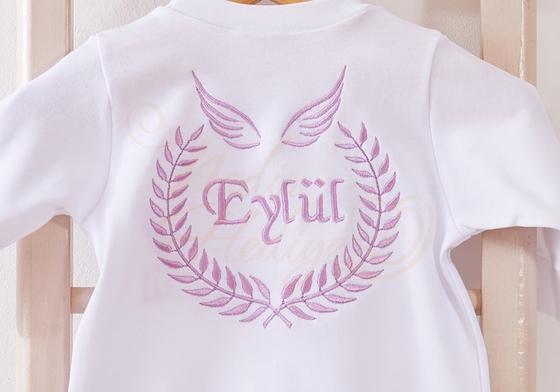 Melek Kanatlı Bebek Tulumu - İsim İşlemeli - Thumbnail