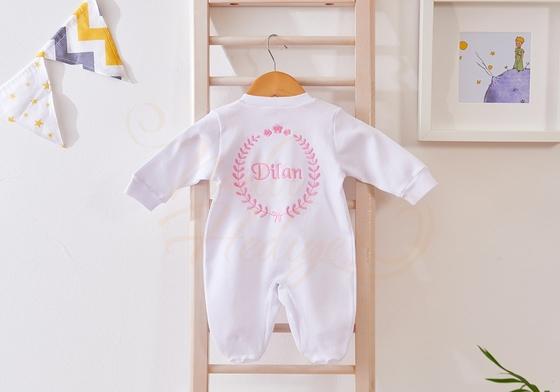 Nakışlı Bebek Tulum Seti - İsimli Bebek Hediyesi - Thumbnail