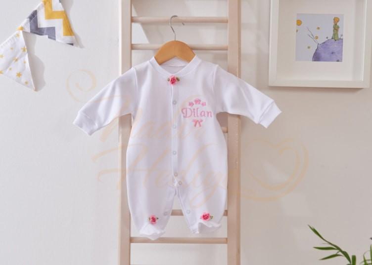 Nakışlı Bebek Tulum Seti - İsimli Bebek Hediyesi